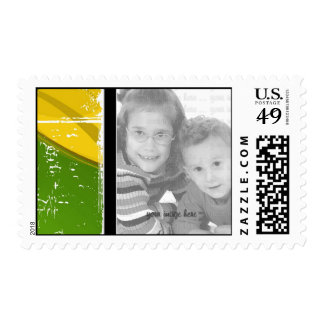 Yellow & Green Grunge Photo Template Postage