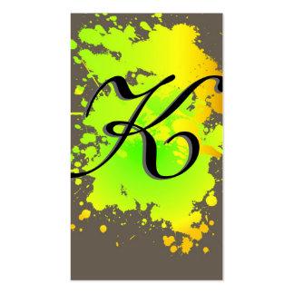 Yellow Green Ink Paint Splash Business Card