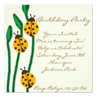 Yellow & Green ladybug Birthday Invitation