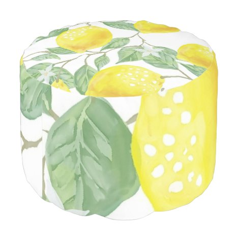 Yellow Green Leaf Watercolor Round Seating Pouf
