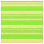 [ Thumbnail: Yellow & Green Lines Pattern Fabric ]