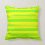 [ Thumbnail: Yellow & Green Lines Pattern Throw Pillow ]