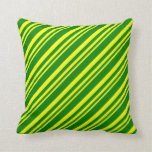 [ Thumbnail: Yellow & Green Lines/Stripes Pattern Throw Pillow ]