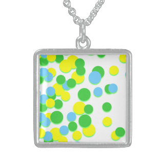 Yellow Green Lovely Circle Silver Square Necklace