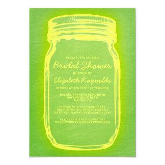 Yellow & Green Mason Jar Bridal Shower Invitations Custom Announcements