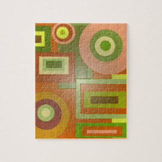 yellow green mod shapes jigsaw puzzle