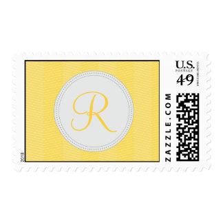 Yellow Green Monogram Thin Chevron Pattern Postage Stamps