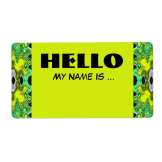 yellow green  name badge label