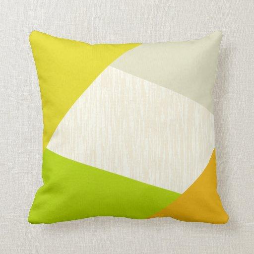 Modern Geometric Pillows : Yellow Green Orange and Tan Modern Geometric Pillows Zazzle