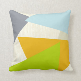 Yellow Green Orange and Tan Modern Geometric Throw Pillow