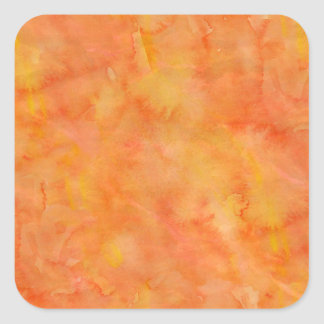 Yellow Green Orange Watercolor Texture Pattern Square Sticker