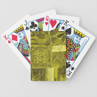 Yellow Green Patchwork Fabric Texture Bicycle Playing Cards