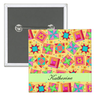 Yellow Green Patchwork Quilt Blocks Name Badge 2 Inch Square Button