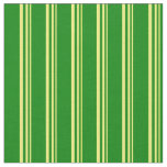 [ Thumbnail: Yellow & Green Pattern of Stripes Fabric ]