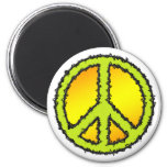 Yellow Green Peace Sign 2 Inch Round Magnet