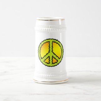 Yellow Green Peace Sign Beer Stein