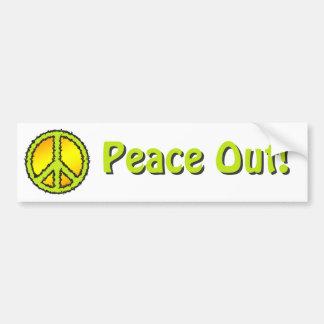 Yellow Green Peace Sign Bumper Sticker