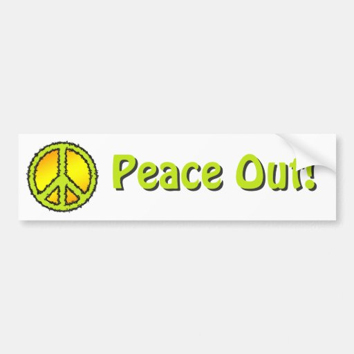 Yellow Green Peace Sign Bumper Stickers
