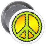 Yellow Green Peace Sign Button