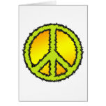 Yellow Green Peace Sign Card