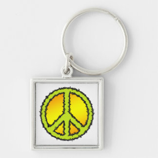 Yellow Green Peace Sign Keychain