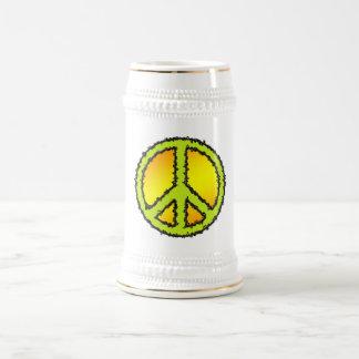 Yellow Green Peace Sign Mugs