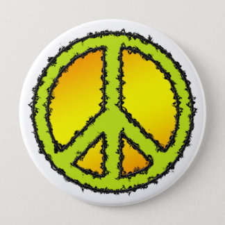 Yellow Green Peace Sign Pinback Button