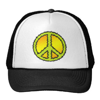 Yellow Green Peace Sign Trucker Hat