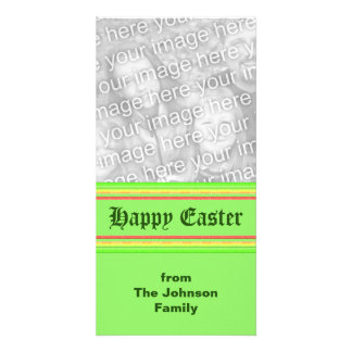 yellow green pink Happy Easter Photo Card