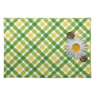 Yellow & Green Plaid Daisy American MoJo Placemat
