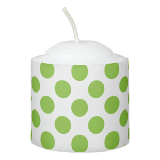 Yellow Green Polka Dots Votive Candle