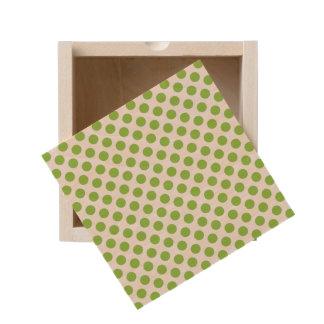 Yellow Green Polka Dots Wooden Keepsake Box