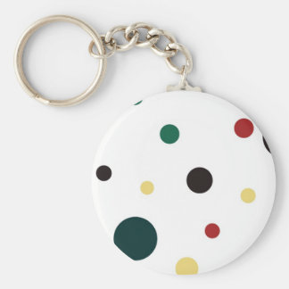 Yellow Green Red and Black Polka Dots Keychain