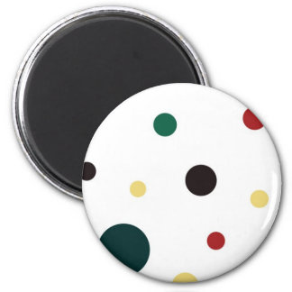 Yellow Green Red and Black Polka Dots Magnet