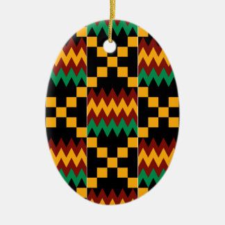 Yellow, Green, Red, Black Kente Cloth Ceramic Ornament
