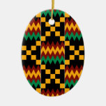 Yellow, Green, Red, Black Kente Cloth Ornaments