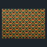 "Yellow, Green, Red, Black Kente Cloth Placemat<br><div class=""desc"">Cloth placemat with a yellow,  green,  red,  and black Kente cloth pattern. This is an African art design found in Ghana. The perfect placemat for your table.</div>"