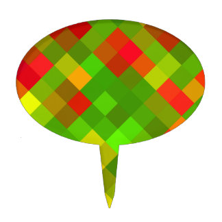 Yellow Green Red Patterns Geometric Designs Color Cake Topper
