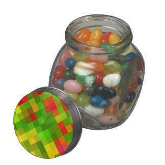 Yellow Green Red Patterns Geometric Designs Color Glass Jar
