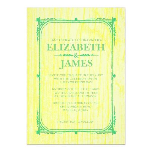 Yellow Green Rustic Barn Wood Wedding Invitations Custom Invitations