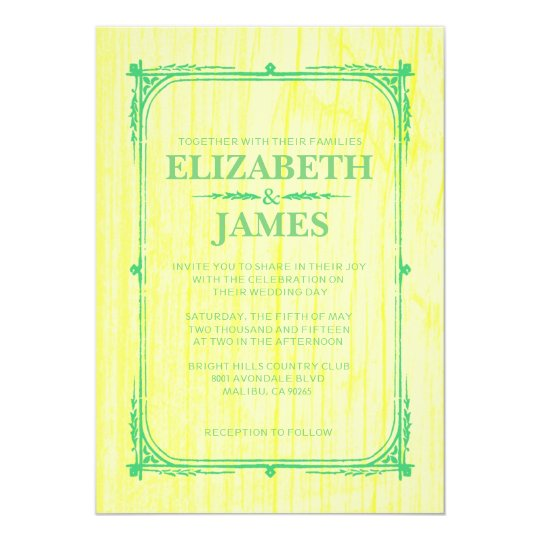 Yellow Green Rustic Barn Wood Wedding Invitations
