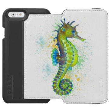 Yellow Green Seahorse splash iPhone 6/6s Wallet Case