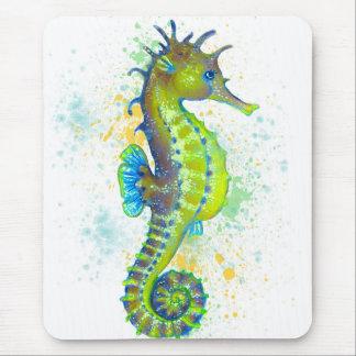 Yellow Green Seahorse splash Mouse Pad