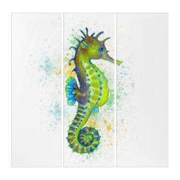 Art Themed Yellow Green Seahorse splash Triptych