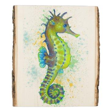 Art Themed Yellow Green Seahorse splash Wood Panel