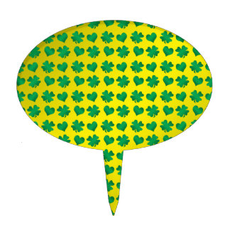 Yellow green shamrocks and hearts cake toppers