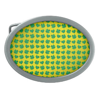 Yellow green shamrocks and hearts oval belt buckles