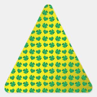 Yellow green shamrocks and hearts triangle sticker