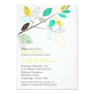 Yellow & Green Spring Birds Baby Shower Invitation