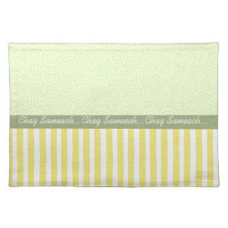 Yellow/Green Stripes Chag Sameach Placemat